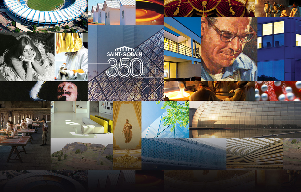 Photo collage of Saint-Gobain 350th anniversary